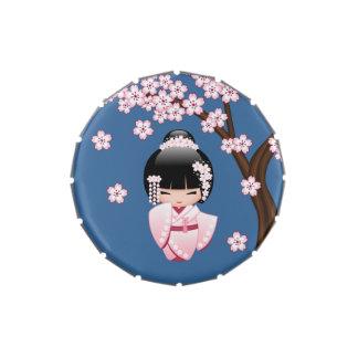 Bride Kokeshi Doll - White Kimono Geisha Girl Candy Tins