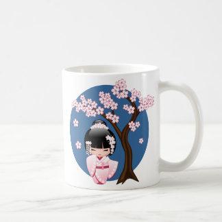 Bride Kokeshi Doll - White Kimono Geisha Girl Coffee Mug