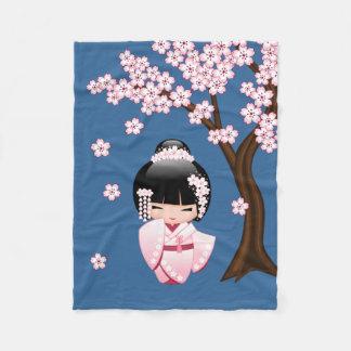 Bride Kokeshi Doll - White Kimono Geisha Girl Fleece Blanket