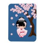 Bride Kokeshi Doll - White Kimono Geisha Girl Rectangular Photo Magnet