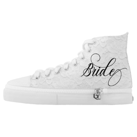 Bride lace Look White Wedding Bridal High-Top Sneakers