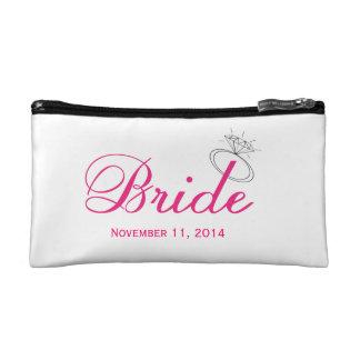 """""""Bride"""" Make-up Bag w Customizable wedding date Makeup Bag"""
