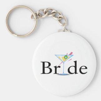 Bride Martini Black Basic Round Button Keychain