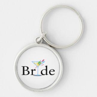 Bride Martini Black Silver-Colored Round Keychain