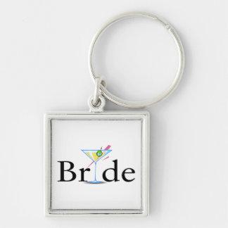 Bride Martini Black Silver-Colored Square Keychain