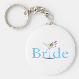 Bride Martini Blue Basic Round Button Keychain
