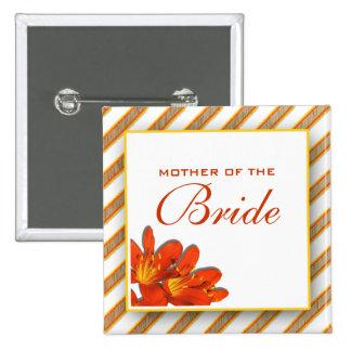 Bride mother bridal wedding orange yellow 2 inch square button