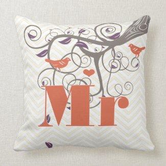 Bride Mr Groom Purple Coral Grey Zig Zag Bird Throw Pillow