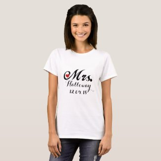 Bride Mrs. Add Your Name and Wedding Date T-shirt