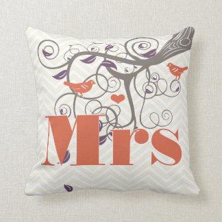 Bride Mrs Purple Coral Grey Zig Zag Tree Throw Pillows
