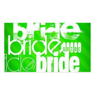 Bride; Neon Green Stripes Business Card