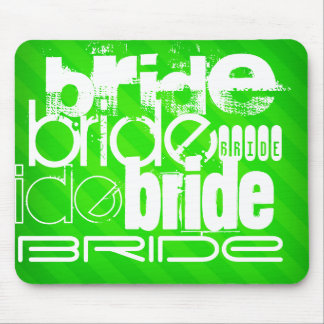 Bride; Neon Green Stripes Mouse Pad