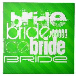 Bride; Neon Green Stripes Tiles
