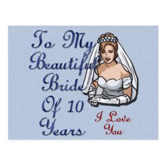 Bride Of 10 Years Postcard