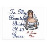 Bride Of 40 Years Postcard