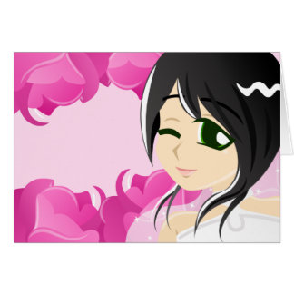 Bride of the Pink Rose:Black w/ Green Eyes Card