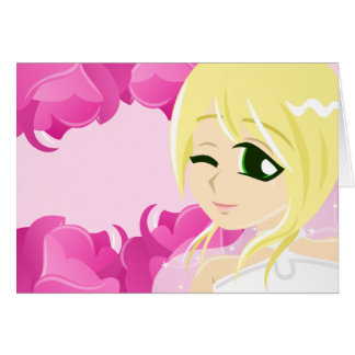 Bride of the Pink Rose: Blonde w/ Green Eyes Card