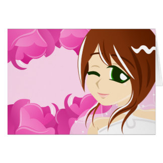 Bride of the Pink Rose:Brunette w/ Green Eyes Card