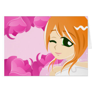 Bride of the Pink Rose:Red w/ Green Eyes Card
