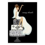 Bride On A Wedding Cake Thank You Notes Card