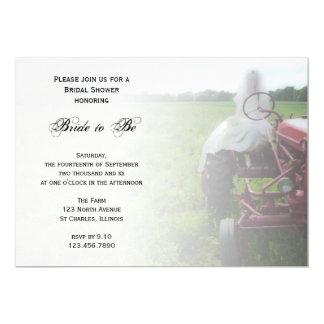 Bride on Farm Tractor Country Bridal Shower Invite