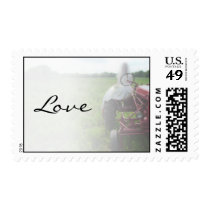 Bride on Farm Tractor Country Love Wedding Postage