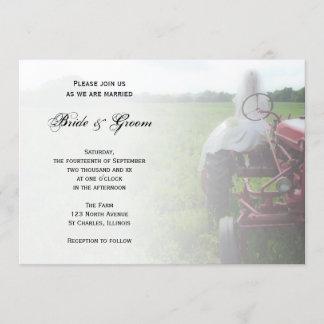 Bride on Farm Tractor Country Wedding Invitation