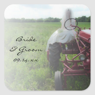 Bride on Farm Tractor Country Wedding Square Sticker