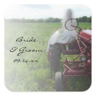 Bride on Farm Tractor Country Wedding Square Sticker