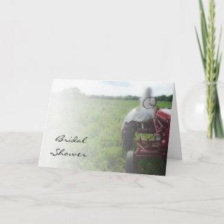 Bride on Farm Trator Country Bridal Shower Invite