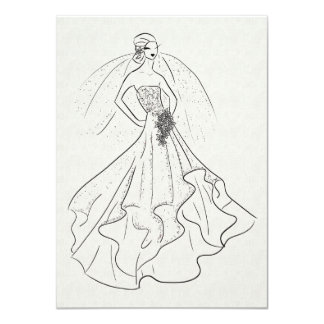 Bride on French Linen 4.5x6.25 Paper Invitation Card