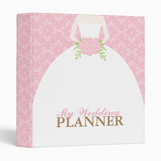 Bride on Pink Damask Pattern Wedding Binder
