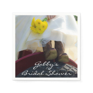 Bride on Red Tractor Country Farm Bridal Shower Paper Napkin
