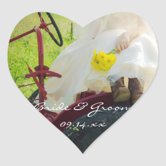 Bride on Red Tractor Country Farm Wedding Heart Sticker