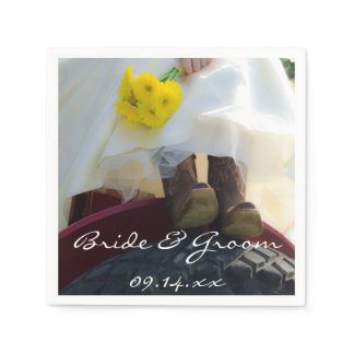 Bride on Red Tractor Country Farm Wedding Napkin