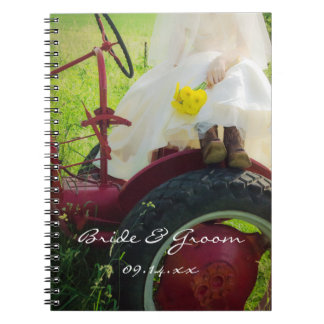 Bride on Red Tractor Country Farm Wedding Notebook