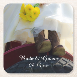 Bride on Red Tractor Country Farm Wedding Square Paper Coaster