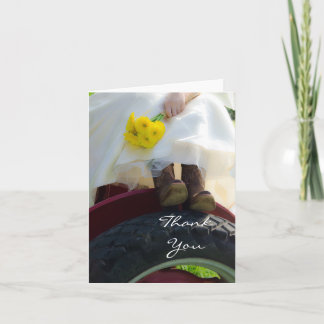 Bride on Red Tractor Farm Wedding Thank You Note