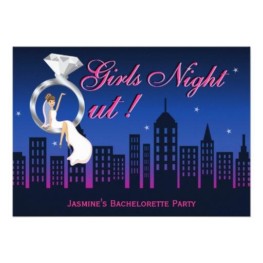 Bride On Ring Skyline Bachelorette Party Invite