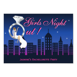 Bride On Ring Skyline Bachelorette Party Invite