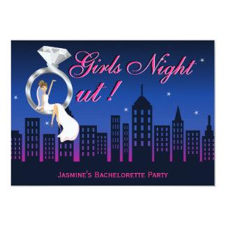 "Bride On Ring Skyline Bachelorette Party Invite 5"" X 7"" Invitation Card"