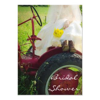 Bride on Tractor Country Farm Bridal Shower Invite