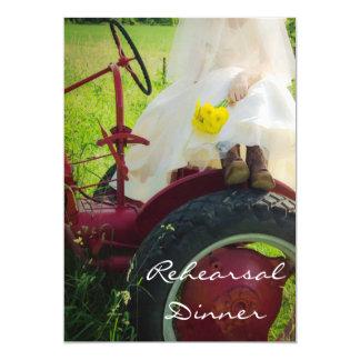Bride on Tractor Country Farm Rehearsal Dinner Invitation