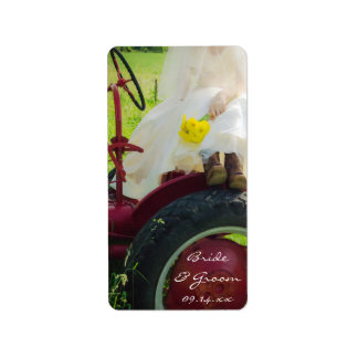 Bride on Tractor Country Farm Wedding Favor Tags