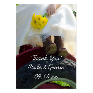 Bride on Tractor Country Farm Wedding Favor Tags Large Business Card