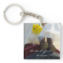 Bride on Tractor Country Farm Wedding Keychain