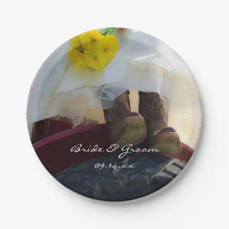 Bride on Tractor Country Farm Wedding Paper Plate