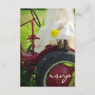 Bride on Tractor Country Farm Wedding RSVP Card