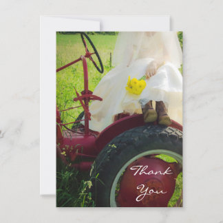 Bride on Tractor Country Farm Wedding Thank You