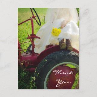 Bride on Tractor Country Farm Wedding Thank You Postcard